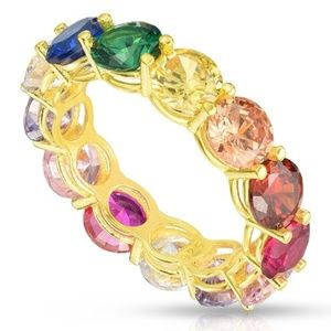 Sphera rainbow cz eternity ring - Sz 9